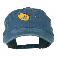 Fishing Spinner Embroidered Washed Cap - Navy