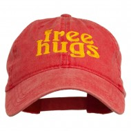 Free Hugs Embroidered Washed Dyed Cap - Red