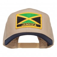 Jamaica Flag Two Tone Pro Style Patched Cap - Navy Khaki