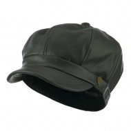 Faux Leather Spitfire Hat - Dark Grey