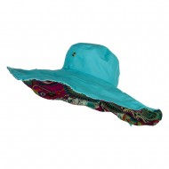 Floral Lining Crushable Wired Hat - Turquoise