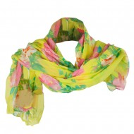 Women's Floral Print Scarf - Yellow