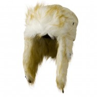 Poly White Faux Fur Lining Trooper Hat - Cream