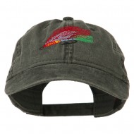 Fishing Fly Embroidered Washed Cap - Black