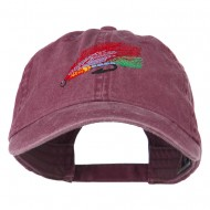 Fishing Fly Embroidered Washed Cap - Maroon