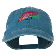 Fishing Fly Embroidered Washed Cap - Sky Blue