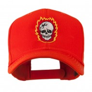 Halloween Skull with Flames Embroidered Cap - Orange