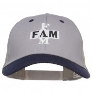 Fam Embroidered Two Tone Trucker Cap - Navy Grey