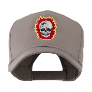 Halloween Skull with Flames Embroidered Cap - Grey