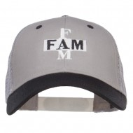 Fam Embroidered Two Tone Trucker Cap - Black Grey