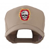 Halloween Skull with Flames Embroidered Cap - Khaki