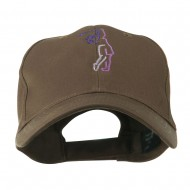 Female Golfer Outline Embroidered Cap - Brown