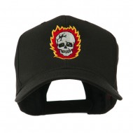 Halloween Skull with Flames Embroidered Cap - Black