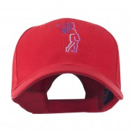 Female Golfer Outline Embroidered Cap - Red