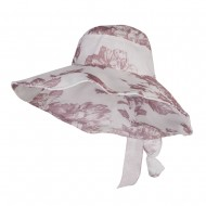 Floral Design Bow Crushable Hat - Red