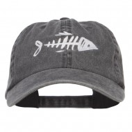 Fish Bone Embroidered Washed Cap - Black