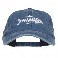 Fish Bone Embroidered Washed Cap - Navy