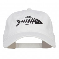 Fish Bone Embroidered Washed Cap - White