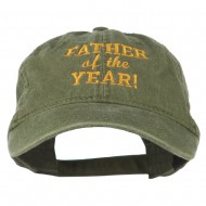 Father of the Year Embroidered Washed Cap - Olive Green