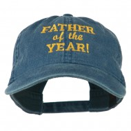 Father of the Year Embroidered Washed Cap - Navy