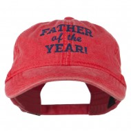 Father of the Year Embroidered Washed Cap - Red