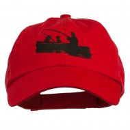 Fishing in Boat Embroidered Pet Spun Cap - Red
