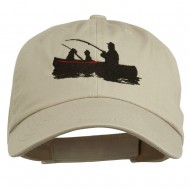 Fishing in Boat Embroidered Pet Spun Cap - Stone