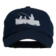 Fishing in Boat Embroidered Pet Spun Cap - Navy