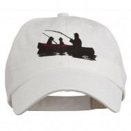 Fishing in Boat Embroidered Pet Spun Cap - White