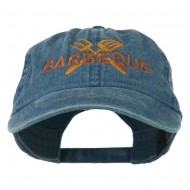 Barbeque Fork Spatula Embroidered Washed Cap - Navy