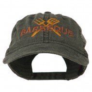 Barbeque Fork Spatula Embroidered Washed Cap - Black