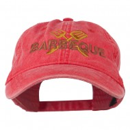 Barbeque Fork Spatula Embroidered Washed Cap - Red