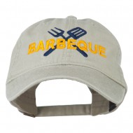 Barbeque Fork Spatula Embroidered Washed Cap - Stone Grey