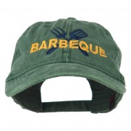 Barbeque Fork Spatula Embroidered Washed Cap - Dark Green