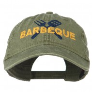Barbeque Fork Spatula Embroidered Washed Cap - Olive Green