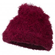 Furry Tube Shape Long Cuff Beanie - Burgundy