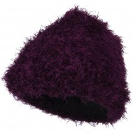 Furry Tube Shape Long Cuff Beanie - Purple