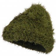 Furry Tube Shape Long Cuff Beanie - Dark Green