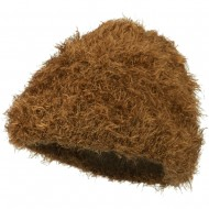 Furry Tube Shape Long Cuff Beanie - Bronze