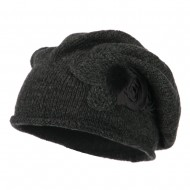 Ladies Flower Feather Beret - Charcoal