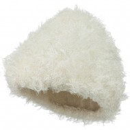 Furry Tube Shape Long Cuff Beanie - Ivory