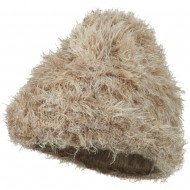 Furry Tube Shape Long Cuff Beanie - Champagne