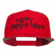 Happy Fright Night Embroidered Snapback Cap - Red