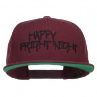 Happy Fright Night Embroidered Snapback Cap - Maroon