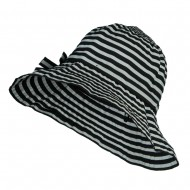 Crushable Lady's Striped Bucket Hat - Black