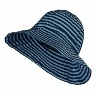 Crushable Lady's Striped Bucket Hat - Blue