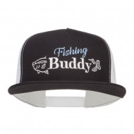 Fishing Buddy Embroidered Snapback Mesh Cap - Black White