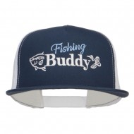 Fishing Buddy Embroidered Snapback Mesh Cap - Navy White