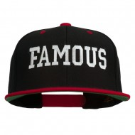Famous Embroidered Two Tone Snapback Cap - Black Red