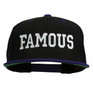 Famous Embroidered Two Tone Snapback Cap - Black Purple
